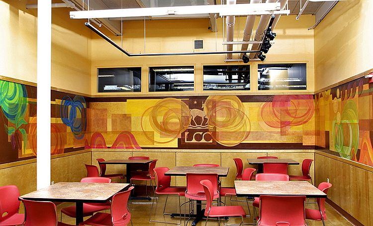 Mural in employee lounge by Vermont muralist John Anderson