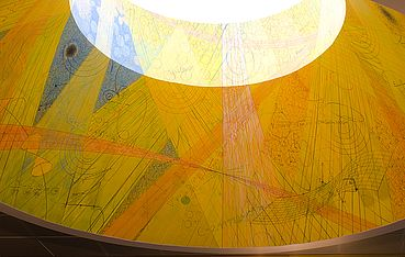 Detail of yellow skylight mural.