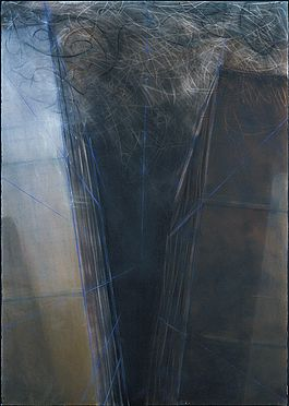 "51"" w x 72"" h / dry pigment, rust, graphite, charcoal, colored pencil, chalk line"